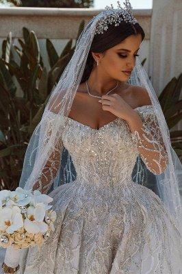 Vestido de fiesta de lujo con lentejuelas Vestido de novia Vestido largo de satén de manga larga_2