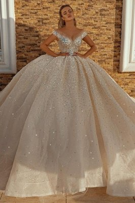 Off the Shoulder Crystal Princess Ball Gown Sequins Bridal Gowns