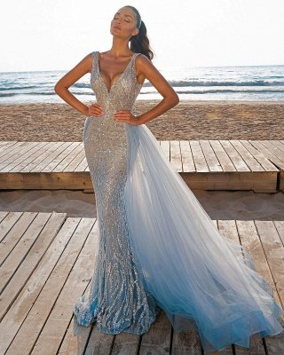 Elegant V-Neck Slim Prom Party Gowns with Detachable Train Mermaid Evening Dress_6