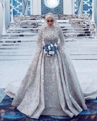 Lujoso vestido de novia con lentejuelas Aline tren de barrido de manga larga con cuello alto_3