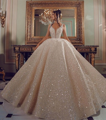 Cathedral wedding dress V-Neck Aline Sequined Bridal Gowns Sleevelss_3