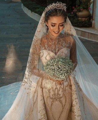 Luxuriöse Meerjungfrau Gold Pailletten Brautkleider Muster Sweep / Trumpt Zug_7