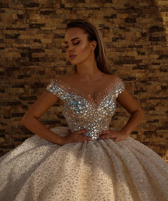 Off the Shoulder Kristallprinzessin Ballkleid Pailletten Brautkleider_3