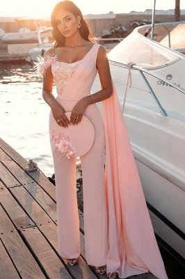 Sweetheart Sheath Evening Dress Sleeveless Slim Jumpsuit Beaded Feather Floor Length Party Gowns with Cape