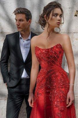 Sweetheart Floral Partten robe de soirée longueur de plancher robe de soirée en tulle_6