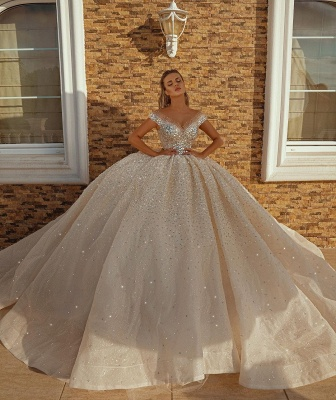 Off the Shoulder Kristallprinzessin Ballkleid Pailletten Brautkleider_4
