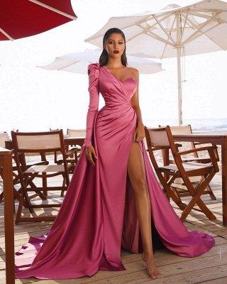 Атласные вечерние макси-платья на одно плечо с разрезом по бокам и со шлейфом_4