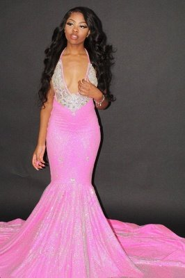 Sexy Halter Mermaid Evening Gowns Backless Prom Dress_2