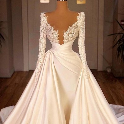 Off the Shoulder Sequined Fur Satin Wedding Party Gown Sleeveless/Long Sleeves styles_5
