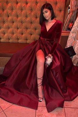 Satin V-Ausschnitt A-Linie Abend Maxikleid Langarm Side Split Prom Kleid_1