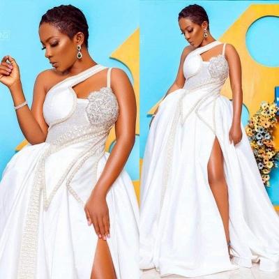 Robe de mariée en dentelle haute couture à une épaule avec trou de serrure_3