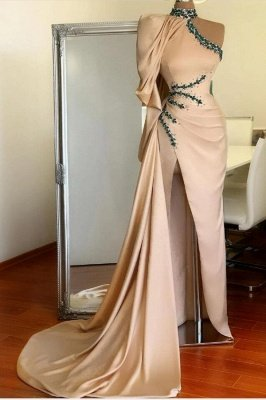 Halter Mermaid Evening Gown with Cape One Shoulder Side Split Prom Dress