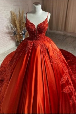 Charming Spaghetti Straps V-Neck Aline Wedding Dress Orange Floral Appliques