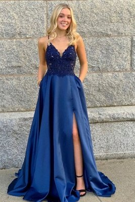 Navy blue A-line Spaghetti Straps Sleeveless High split Lace Prom Dresses