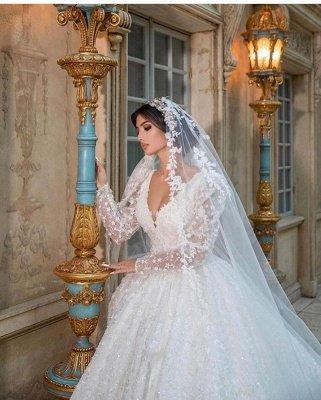 Glamouröses V-Ausschnitt mit langen Ärmeln A-Linie Prinzessin Brautkleid mit Sweep-Zug_4