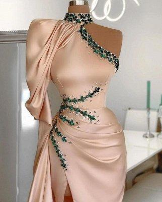 Vestido de noche de sirena con cuello halter y vestido de fiesta con abertura lateral en un hombro_2