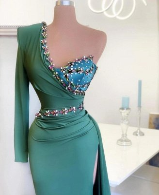 Stylish One Shoulder Mermaid Evening Gown Green Party Dress_2