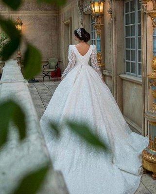 Glamouröses V-Ausschnitt mit langen Ärmeln A-Linie Prinzessin Brautkleid mit Sweep-Zug_5