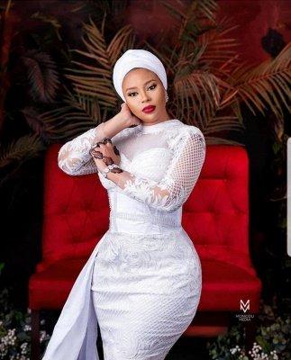 Vestido de novia de tul de encaje blanco de manga larga_2