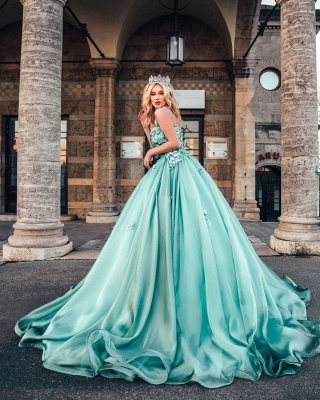 Dazzling Halter Sweetheart A-line Princess Party Gowns Sleeveless Long Evening Dress_4