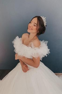 Weiß / Elfenbein aus der Schulter Puffy Tulle Lace Ballkleid Princess Bridal Gown_4