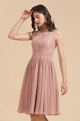 Elegante vestido de fiesta de encaje con cuello redondo sin mangas Vestido de cóctel corto_7