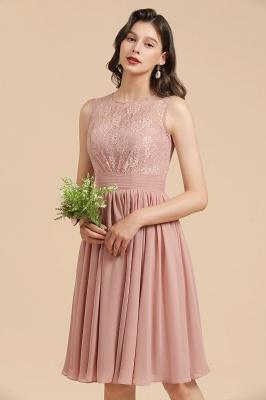 Elegante vestido de fiesta de encaje con cuello redondo sin mangas Vestido de cóctel corto_9