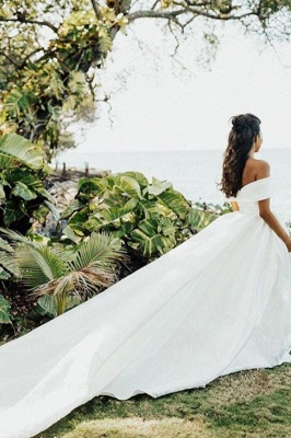 Superbe hors de l'épaule robe de mariée en satin Aline robe de mariée jardin_6