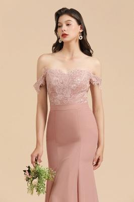 Vestido de noche de sirena con apliques de encaje floral con hombros descubiertos Vestido de dama de honor_9
