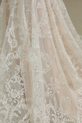 Glamorous Lace Appliques Mermaid Wedding Gown Fur Leather Off Shoulder V-Neck Maxi Dress for Bride_6