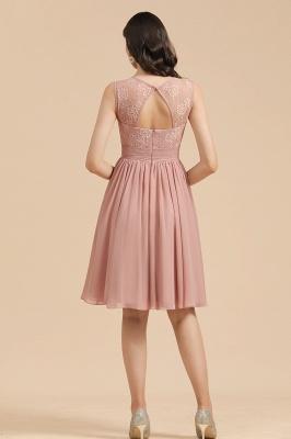 Elegante vestido de fiesta de encaje con cuello redondo sin mangas Vestido de cóctel corto_3