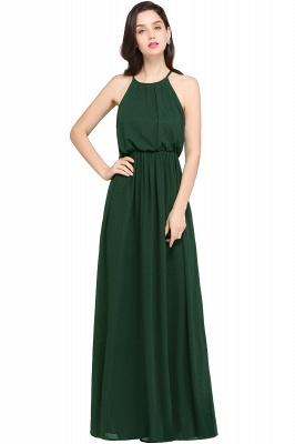 CHEYENNE | A-line Floor-length Chiffon Navy Blue Simple Prom Dress_9