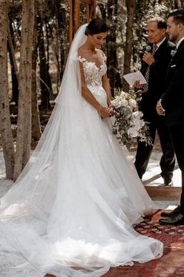 Elegante Flügelärmel Tüll Spitze einfaches Brautkleid weiß bodenlang Garten Brautkleid_4