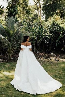 Superbe hors de l'épaule robe de mariée en satin Aline robe de mariée jardin_5