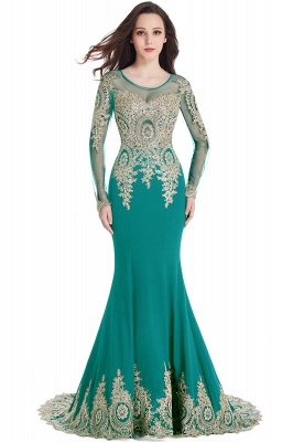 Crystal   Sexy Mermaid Lace Appliques Long Sleeves Prom Dresses with Beadings_9