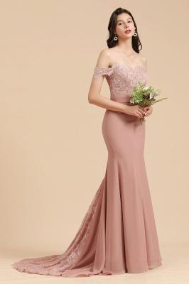 Vestido de noche de sirena con apliques de encaje floral con hombros descubiertos Vestido de dama de honor_4