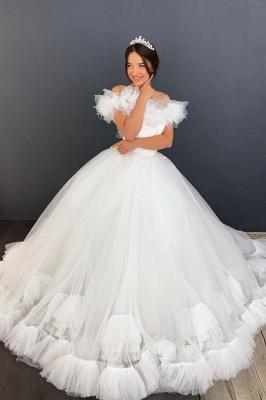 Weiß / Elfenbein aus der Schulter Puffy Tulle Lace Ballkleid Princess Bridal Gown_1