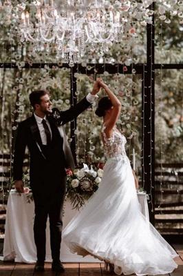 Elegante Flügelärmel Tüll Spitze einfaches Brautkleid weiß bodenlang Garten Brautkleid_2
