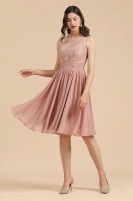 Elegante vestido de fiesta de encaje con cuello redondo sin mangas Vestido de cóctel corto_4