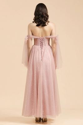 Vestido de festa noturno lindo com mangas bufantes brilhantes Aline vestido de baile de chiffon até o chão_2