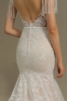Glamorous Lace Appliques Mermaid Wedding Gown Fur Leather Off Shoulder V-Neck Maxi Dress for Bride_8