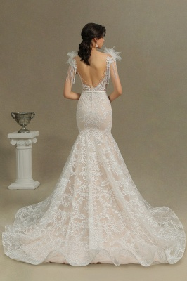 Glamorous Lace Appliques Mermaid Wedding Gown Fur Leather Off Shoulder V-Neck Maxi Dress for Bride_7