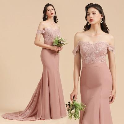Vestido de noche de sirena con apliques de encaje floral con hombros descubiertos Vestido de dama de honor_10