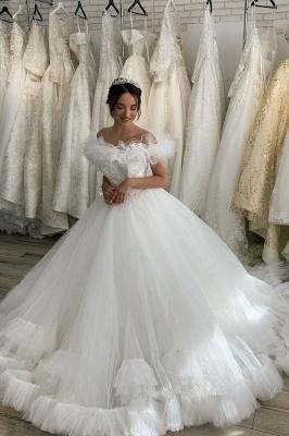 Weiß / Elfenbein aus der Schulter Puffy Tulle Lace Ballkleid Princess Bridal Gown_3
