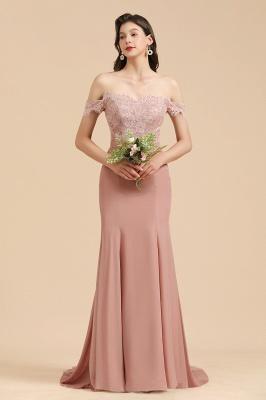 Vestido de noche de sirena con apliques de encaje floral con hombros descubiertos Vestido de dama de honor_6