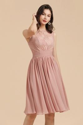 Elegante vestido de fiesta de encaje con cuello redondo sin mangas Vestido de cóctel corto_8
