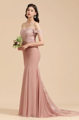 Vestido de noche de sirena con apliques de encaje floral con hombros descubiertos Vestido de dama de honor_7