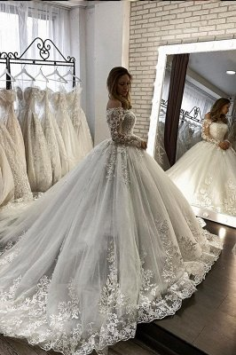 Romantic Off Shoulder Lace Ball Gown White Spring Bridal Gown Long Sleeves