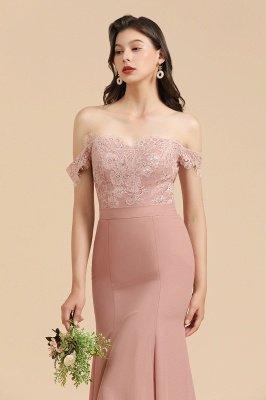 Apliques de renda floral fora do ombro vestido sereia vestido de noite vestido de dama de honra_9