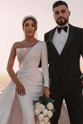 Robe de mariée sirène sexy à une épaule à volants en satin scintillant Seqiuns avec train de balayage_4